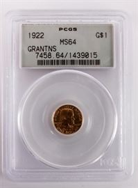 Lot 12 - Coin 1922 Grants Gold $1 Commemorative PCGS MS64