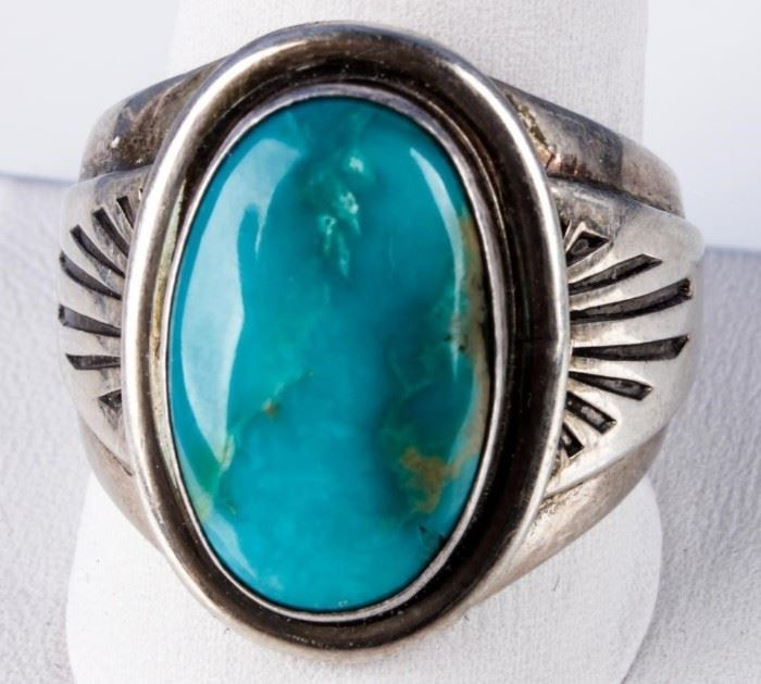Lot 305 - Jewelry Sterling Silver Nelson Garcia Turq. Ring