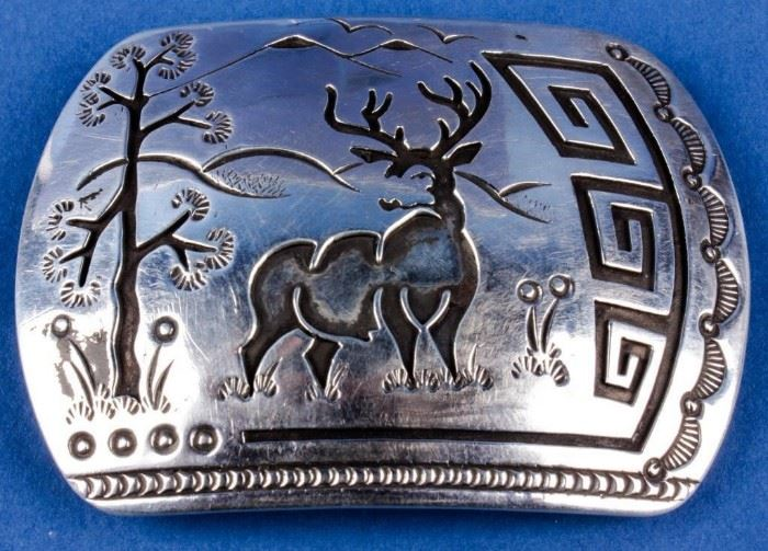 Lot 395 - Jewelry Sterling Silver Rosco Scott Belt Buckle