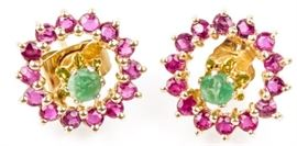 Lot 320 - Jewelry 14kt Yellow Gold Emerald & Ruby Earrings