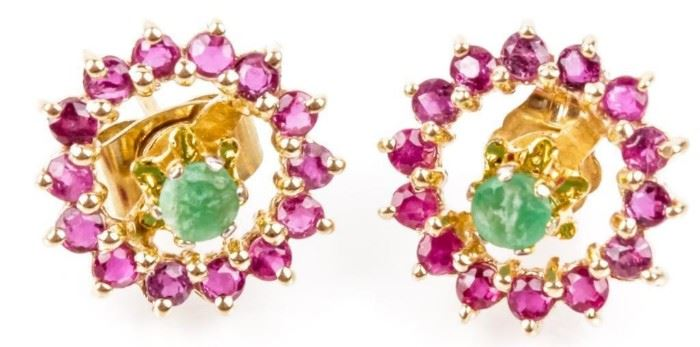 Lot 320 - Jewelry 14kt Yellow Gold Emerald & Ruby Earrings