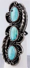 Lot 195 - Jewelry Large Sterling Silver Turquoise Ring
