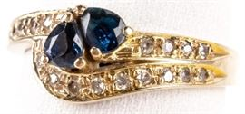 Lot 5 - Jewelry 14kt Yellow Gold Sapphire & Diamond Ring