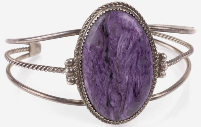 Lot 80 - Jewelry Sterling Silver Charoite Bracelet