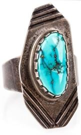 Lot 365 - Jewelry Sterling Silver Turquoise Ring Signed