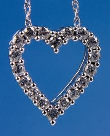 Lot 355 - Jewelry 14kt White Gold Diamond Heart Necklace