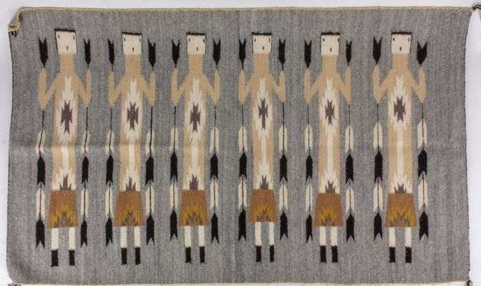 Lot 398 - Authentic Vintage Navajo Yei Hand Woven Rug
