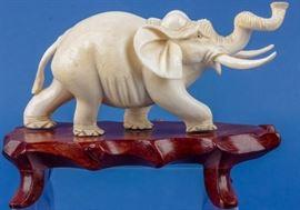 Lot 211 - Pre – Ban Ivory Elephant Sculpture