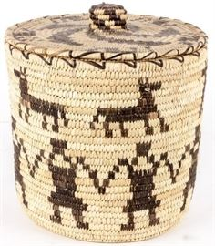 Lot 311 - Woven Native American Indian Covered Basket