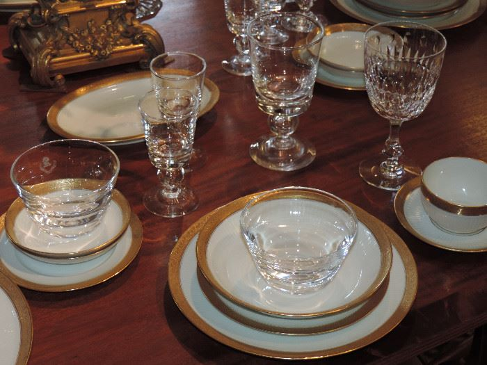 Table has been set with Steuben and Limoges China along with other accessories...