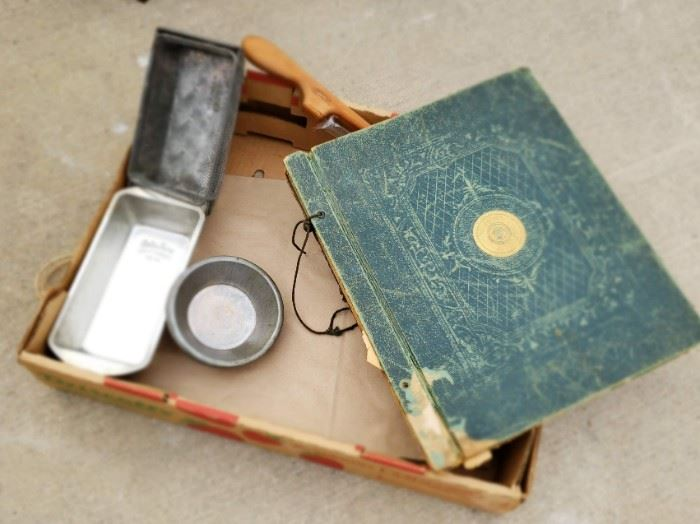 Vintage scrapbook and baking tins