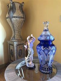Russian Blue Cut Cristal Vase