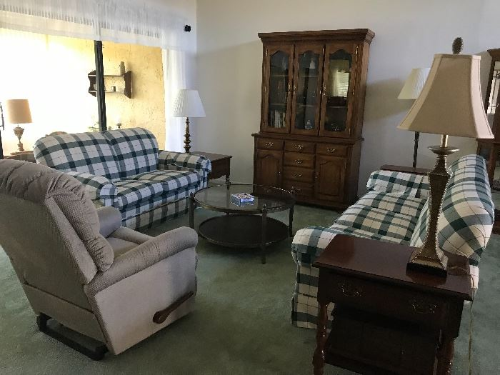 Broyhill sofa and love seat.  Lamps, lamp tables, hutch, and one of two recliners.