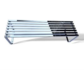 Buy it Now - Milo Baughman chrome slatted bench. 60 inches long. $650.  Text Patty at 847-772-0404 to complete the transaction.