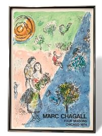 Buy it Now. Chagall Four Seasons 1974 Poster in very nice black and chrome frame. $250.  Text Patty at 847-772-0404 to complete the transaction.