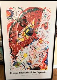 Buy it Now - Huge framed Art Exposition Poster in Black Laquer Frame. $250  Text Patty at 847-772-0404 to complete the transaction.