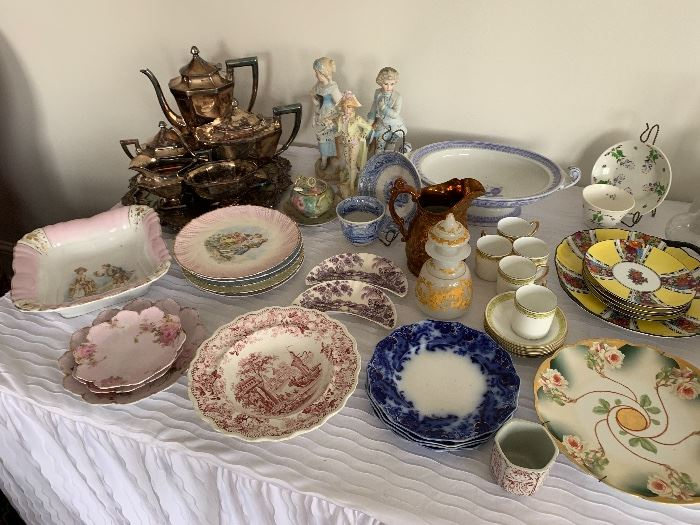 Many pieces of antique chine - flow blue, English, Nippon and more