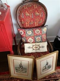 Beautiful embroidered pillows on newly upholstered antique chairs