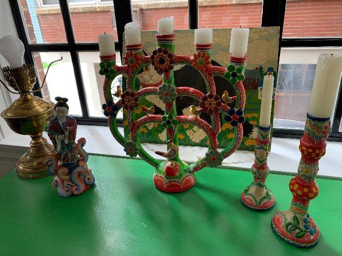Colorful Mexican candleabra and candlesticks