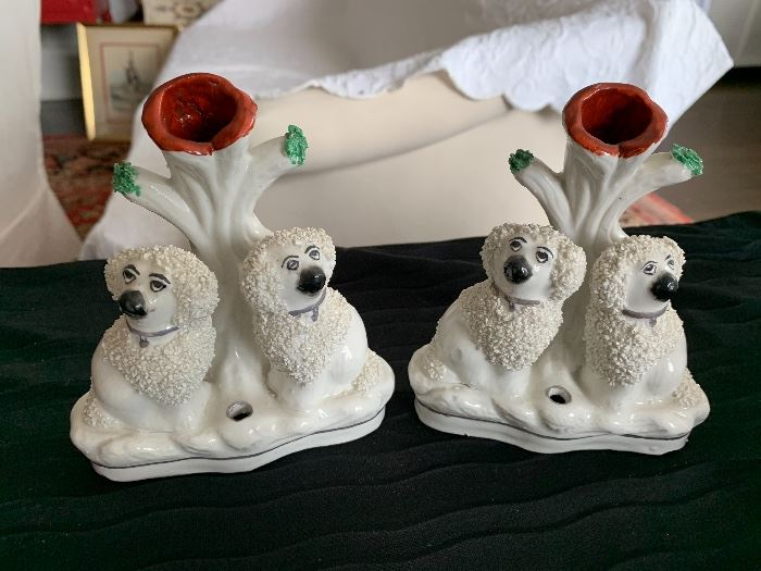 Pair of vintage Staffordshire spill vases