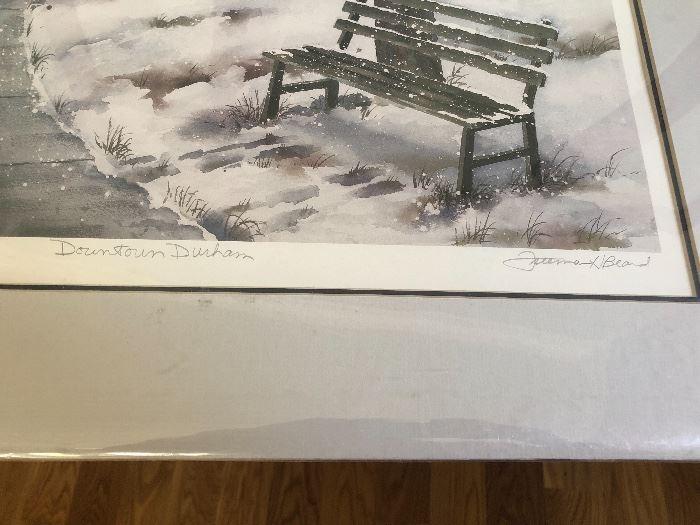 "Freeman Beard signed print ""Downtown Durham"""