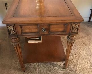 Robinson Brothers end table one of two matching in style! On top is another Stiffel lamp!