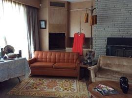 Retro orange sofa sleeper