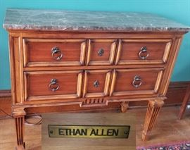 Ethan Allen Walnut and Marble Console