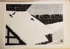 Wood Block 3 Crows on a Snowy Roof