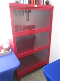 "Metal and Very ""Red"" Glass-Front Bookshelf Unit"
