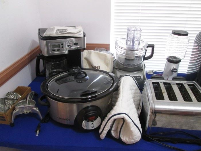 Very Nice Selection of Small Appliances:  Panasonic Bread Maker, Rival Food Slicer, Kitchen Aid Processor