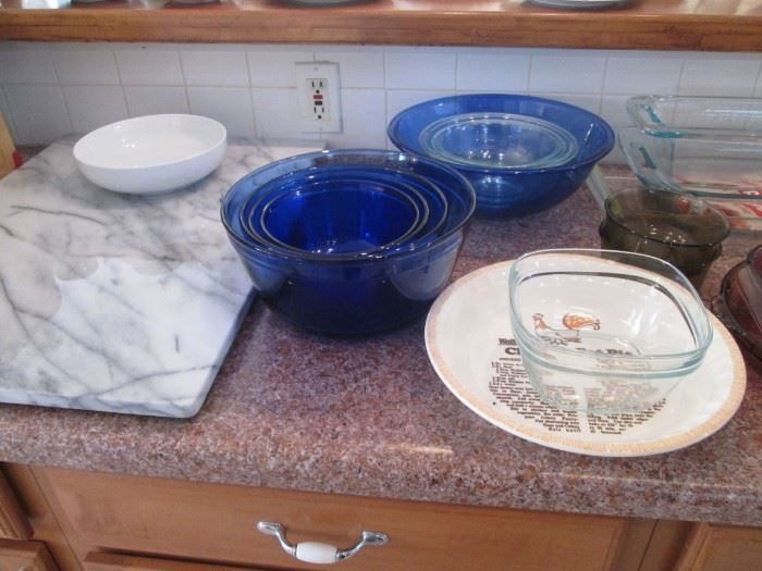 Marble Pastry Board & Anchor Blue Mixing Bowls (4)