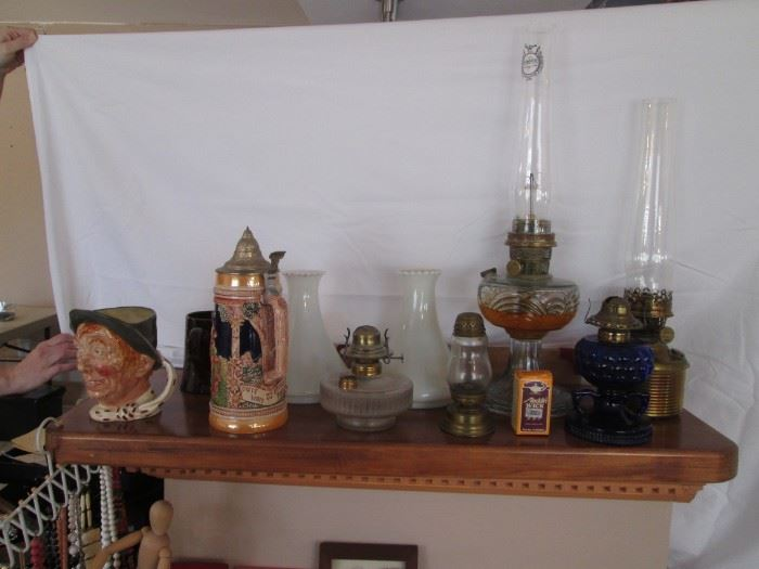 Beer Stein, Germany, Large Toby Jug & Oil Lamp Collection, including Aladdin Washington Drape