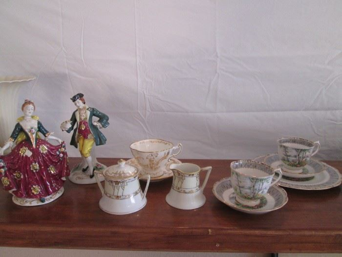 Victorian Pair of  Figurines & Cup/Saucer Collectibles