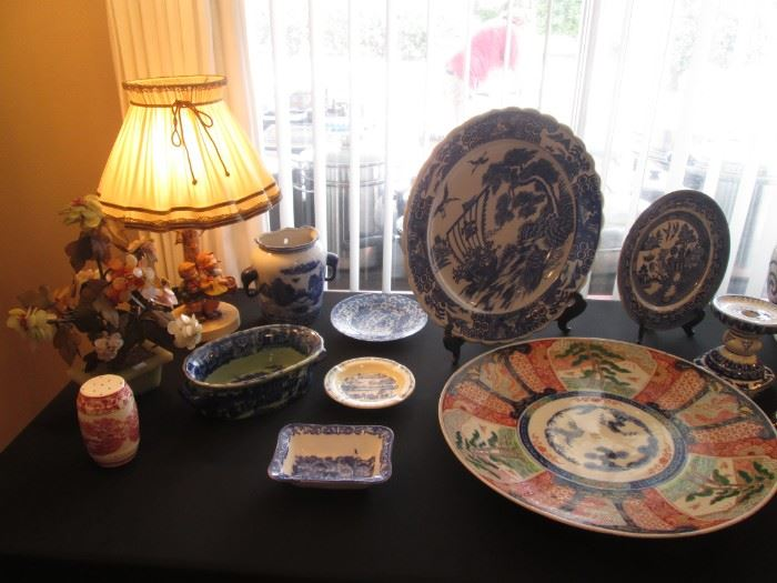 Back Left is a Hummel Lamp.  Large Asian Charger