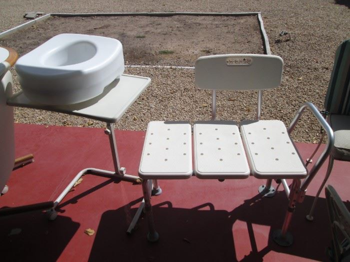Bath Chair, Commode & Bedside Tray