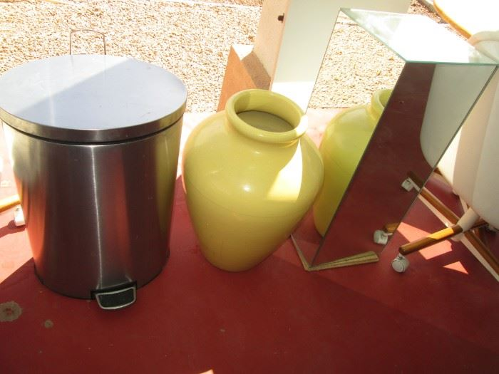 Glass Pedestal & Stainless Trash Can.  Yellow Oil Jar is by California Pottery