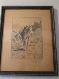 """Pack Horse"" Etching by Elling William ""Bill"" Gollings,       Circa 1926.  Artist born in the Territory of Idaho, 1878."