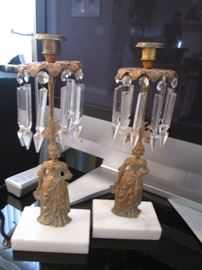 "Pair of Jenny Lind Candlesticks with Crystal Prisms.        NOTE:  We are Selling 9"" and 7"" Crystal Prisms and Bags of Crystal Tear Drops!"