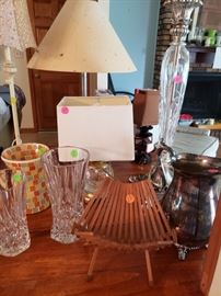 book holder, lamps, crystal vases, pitcher