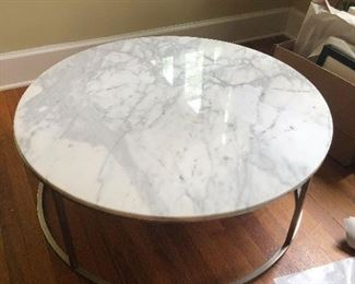Chrome and marble top coffee table. Modern