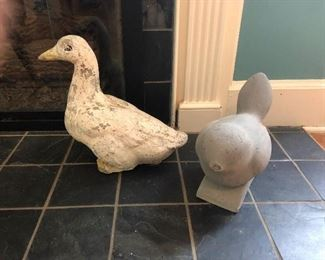 These duck and pigeon statues are HEAVY