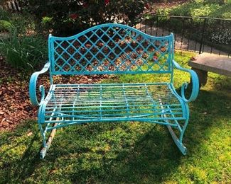 cool metal bench rocker turquoise blue!