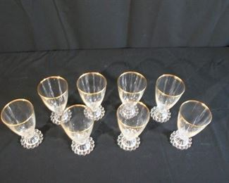 Set of Eight Vintage Mid Century Beaded Bubble Footed Glasses with Gold Trim