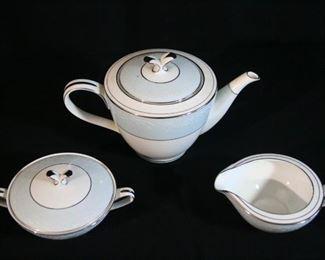 Noritake Laureat 5652 China Tea Pot, Cream and Sugar