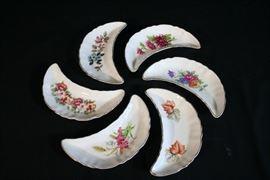 Antique Crescent Bone Plates marked Chadwick, Japan