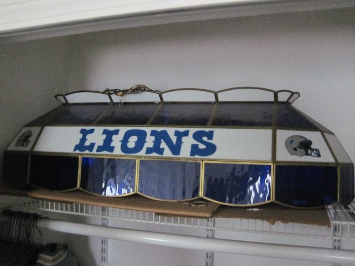 Detroit Lions Stained Glass Pool Table Light