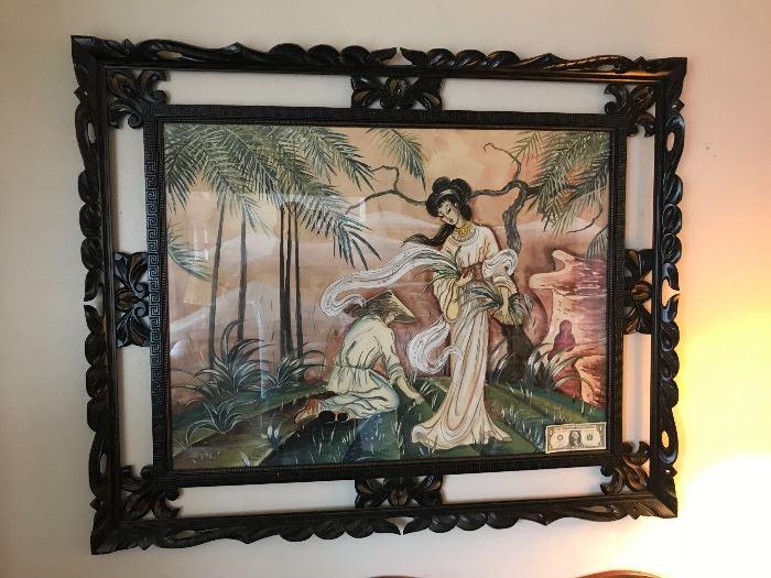 "Large  oriental artwork ""note dollar in corner for size comparison"""