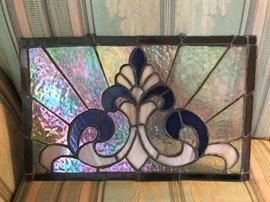 Beautiful iridescent stained glass panel with chain ready for hanging