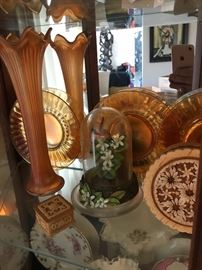 Luster ware  Carnival glass  and hand carved sandalwood items